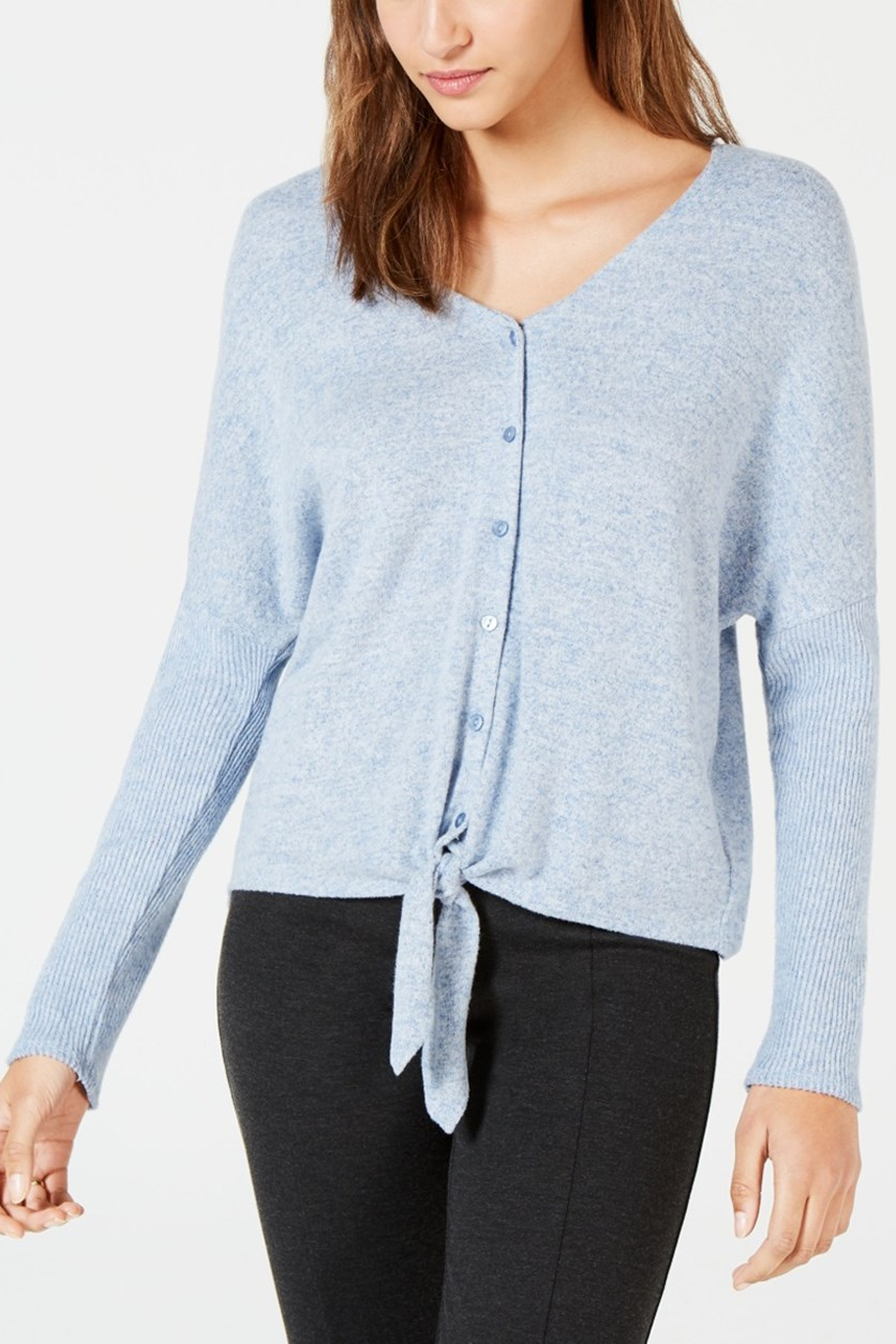 Women's V Neck Long Sleeve Knit Sweater, Sky Blue