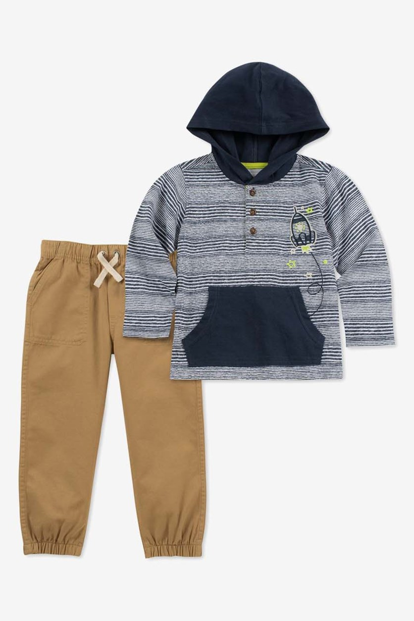 Baby Boys 2-Pc. Hooded Top & Jogger Pants Set, Navy