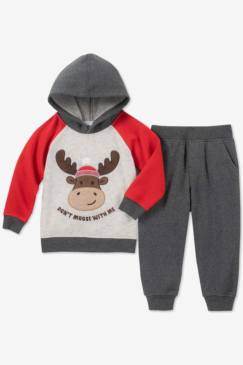 Little Boys 2-Pc. Moose Graphic Hoodie & Jogger Pants Set, Grey Combo