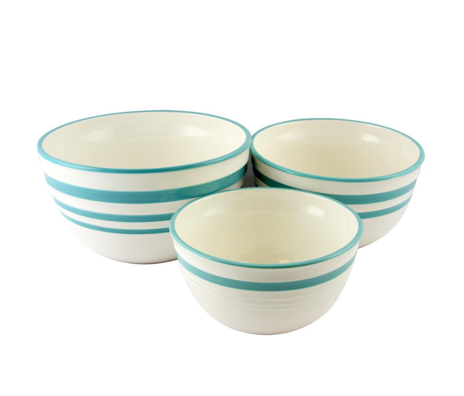 Gibson 3-pc. Nesting Bowl Set, White/Teal Blue
