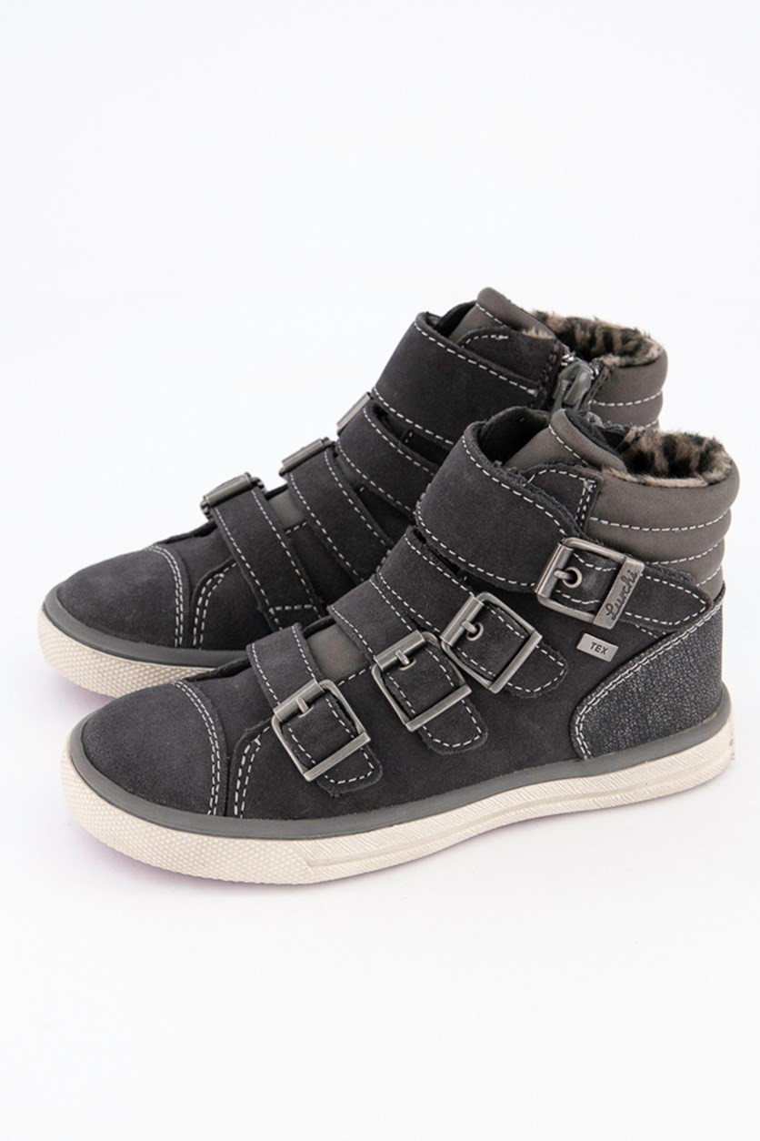 Kids Girls Leather Sneakers Shoes, Charcoal