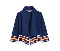 Nowadays Big Girl's x Bailee Madison Striped Cardigan Sweater, Navy