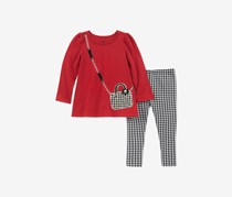 Baby Girls 2-Pc. Purse Graphic Tunic & Checked Leggings Set, Red/Black/White