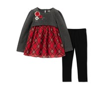 Kids Headquarters Baby Girls 2-Pc. Plaid Tunic & Leggings Set, Gray/Red/Black