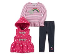 Kids Headquarters  3-Pc. Vest T-Shirt & Leggings Set, Navy/Pink