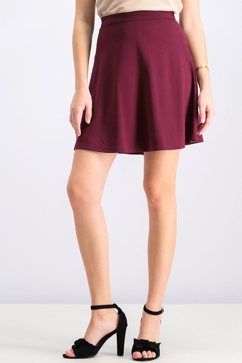 Women's Plain Skirts, Burgundy