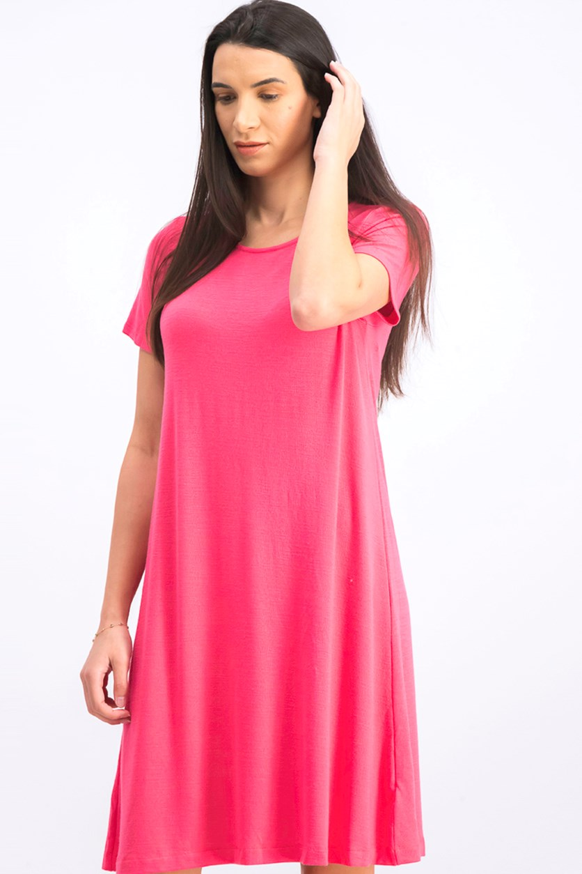 Women's Plain Flared Dress, Pink