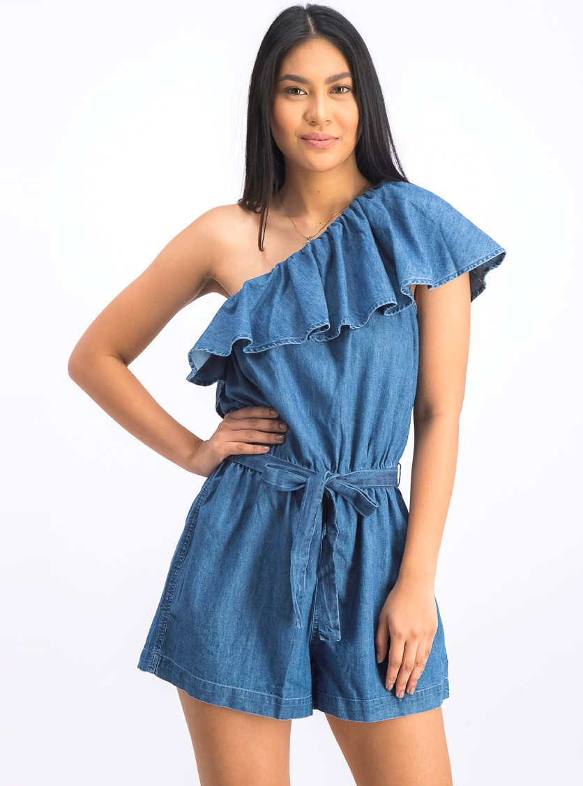 Women's Plain Asymmetrical Romper, Blue