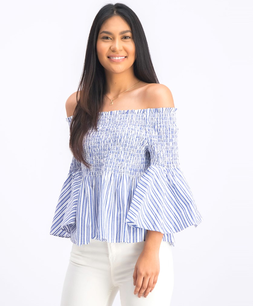 Women's Off Shoulder Stripe Top, Blue