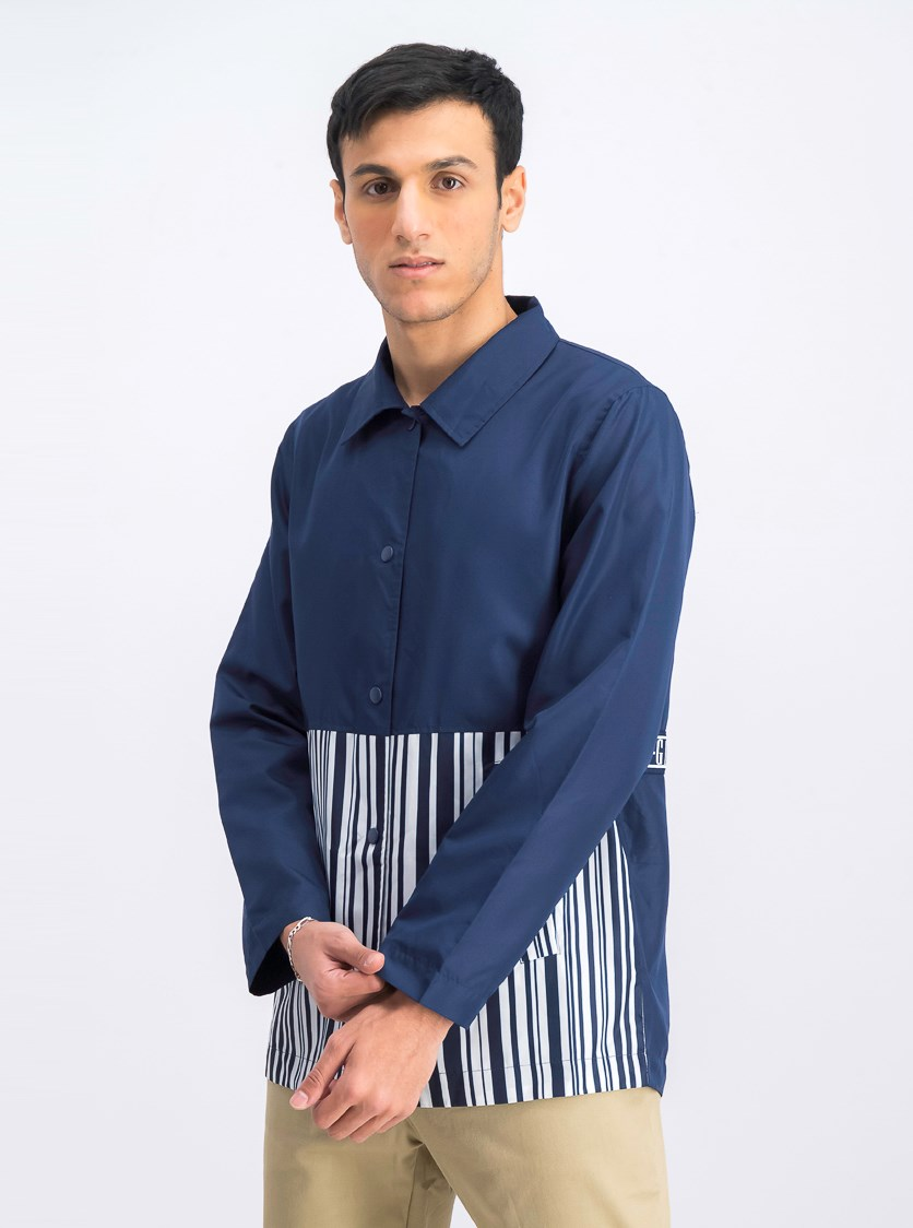 Men's Stripe Jacket, Navy