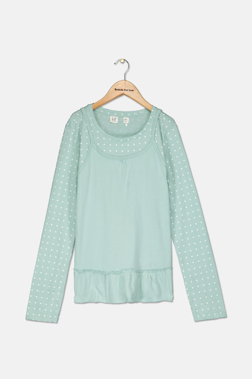 Kids Girl's Long Sleeve Polka-Dots Top, Green/White