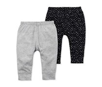 Carter's Infant Girl's 2-Pack Babysoft Pants, Black/Grey
