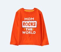 Crazy 8 Baby Boy's Mom Rocks The World Tee, Orange