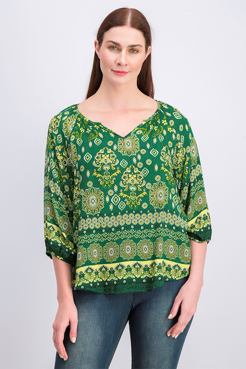 Women's Printed Blouse, Green Combo