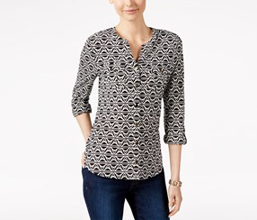 Charter Club Printed Button-Front Shirt, Black/White