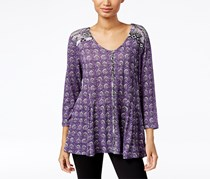 Style & Co. Petite Printed Peasant Blouse, Purple