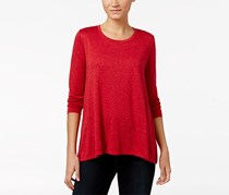 Style Co Women's Petite Sparkle Swing Top, Red