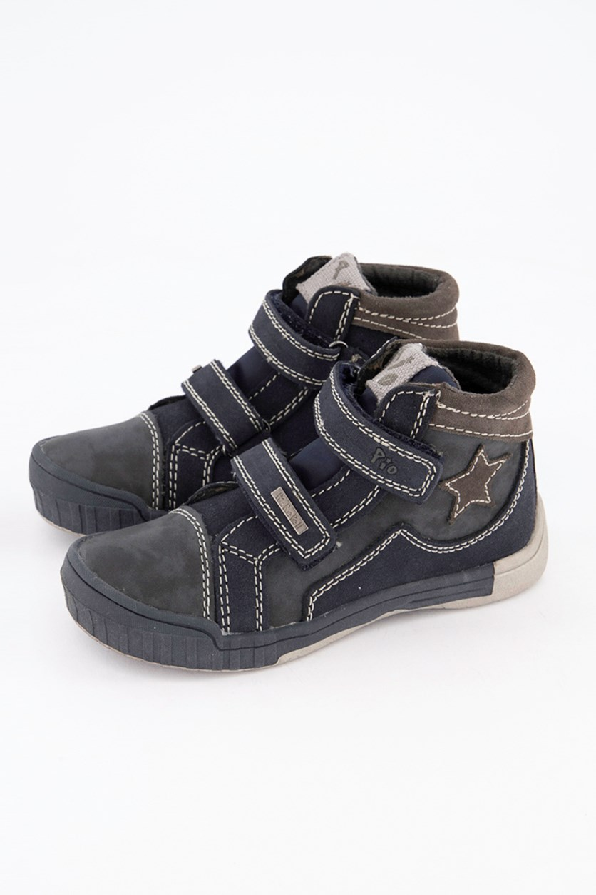 Kids Boys Star Details Shoes, Blue Titan