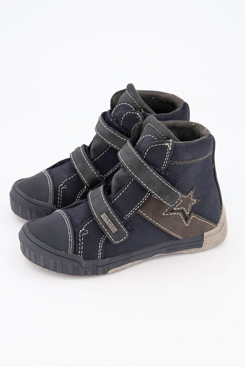 Toddlers Boys High-Cut Shoes, Blue Gray