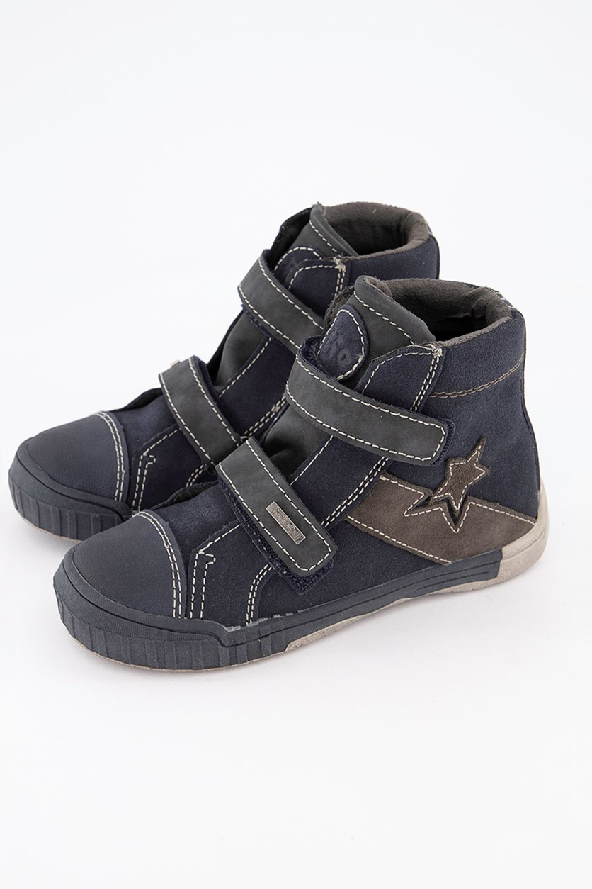 Kids Boys Velcro Sneakers, Navy Blue