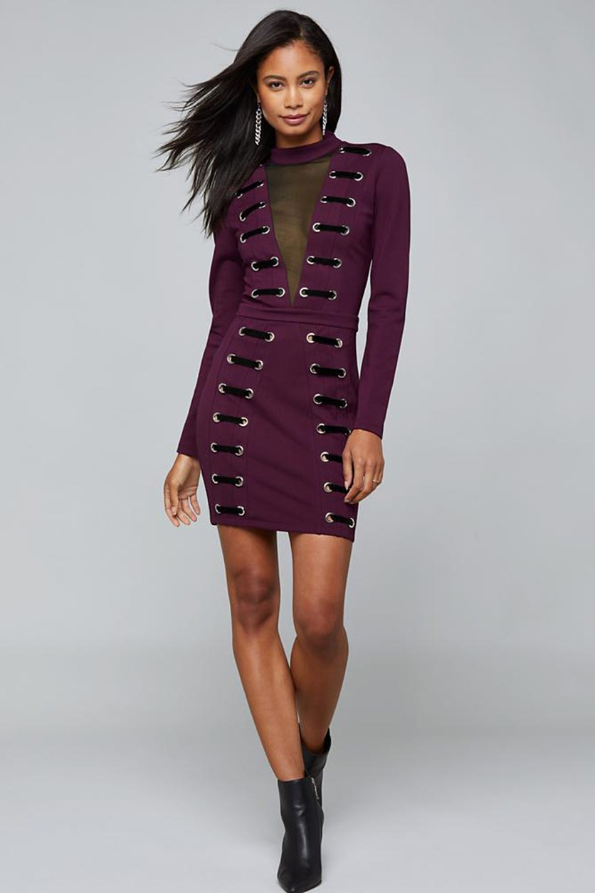 Women's Laced Mesh Inset Mini Dress, Purple/Black
