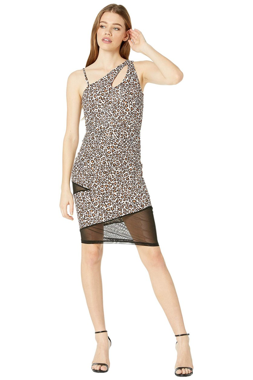 One Shoulder Keyhole Mesh Mixed Dress, Leopard Safari