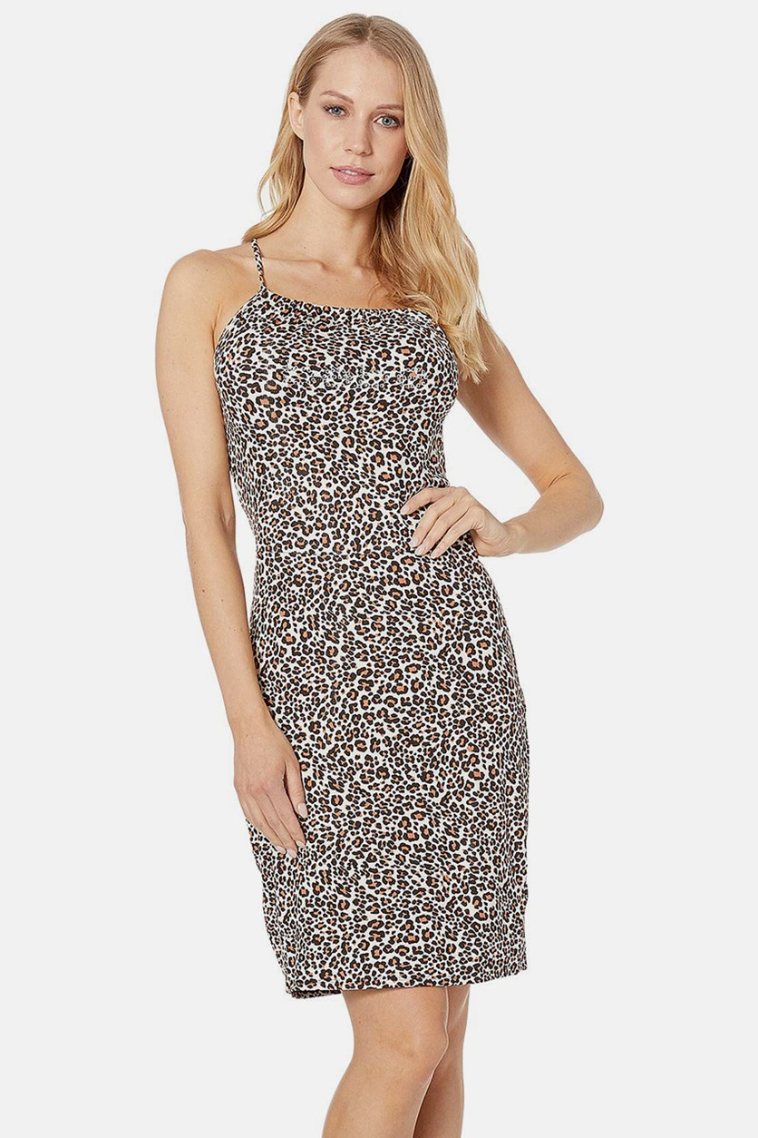 Gathered Halter Mini Dress, Leopard Safari
