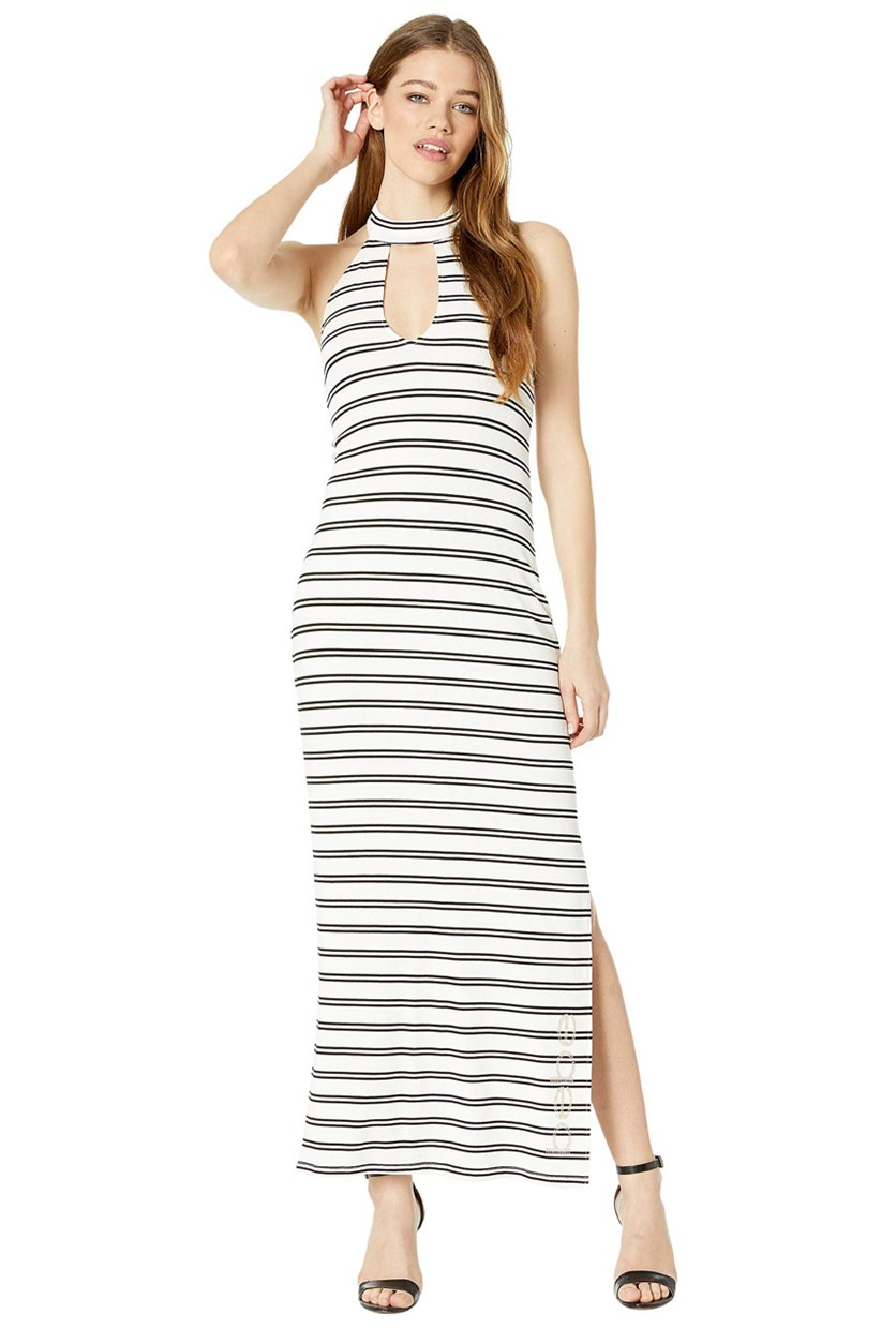 Deep V Halter Maxi Dress, Black/White