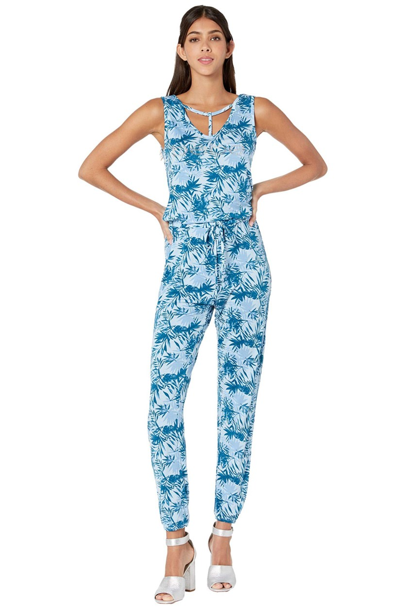 Ray Span Jumpsuit, Moroccan Blue Palm