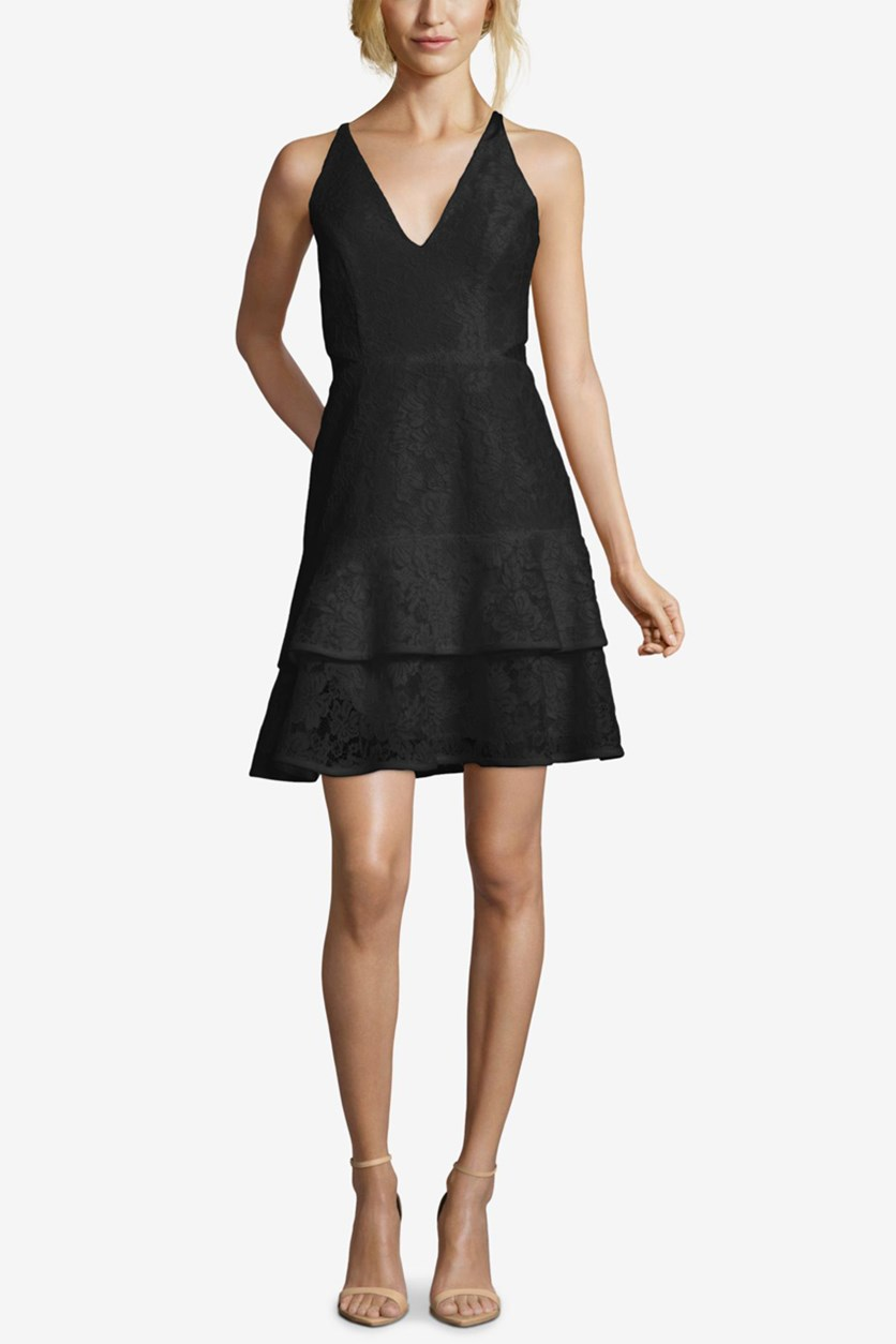Spaghetti Strap V-Neck Mini Party Dress, Black