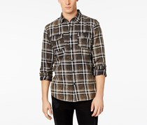American Rag Men's Distressed Plaid Shirt, Gray Combo