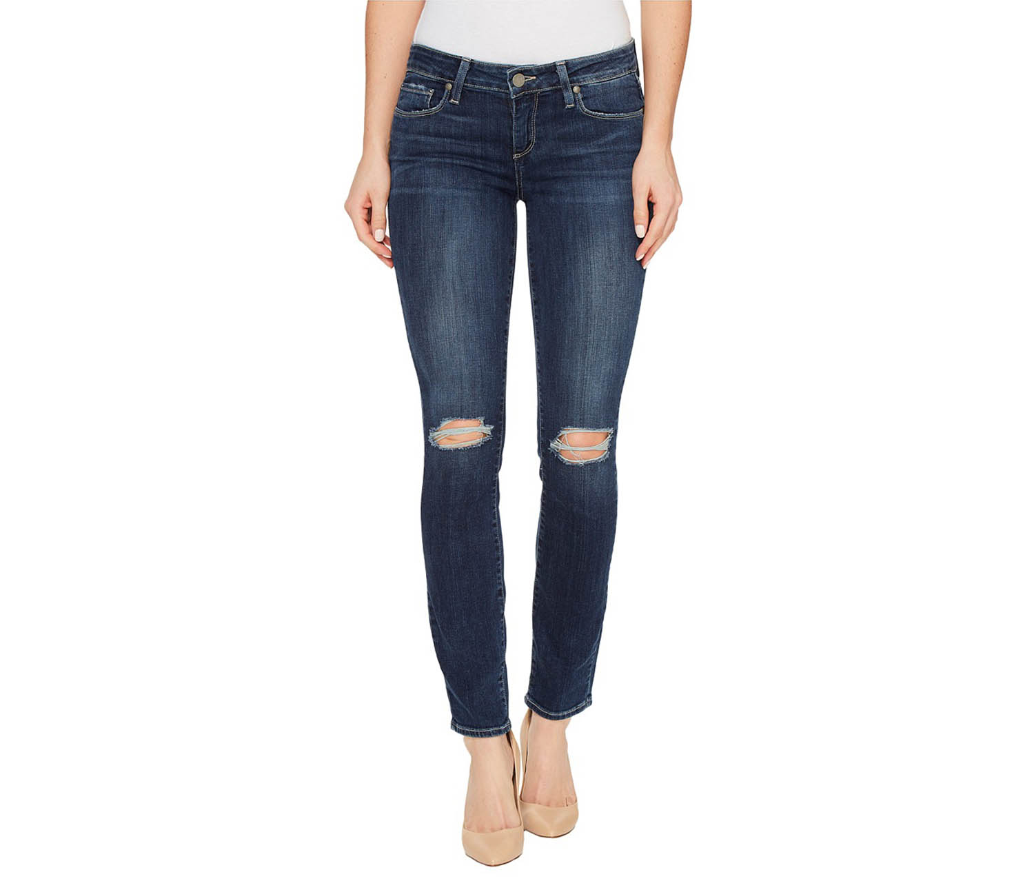 Paige Women's Ankle Skinny Jeans, Navy