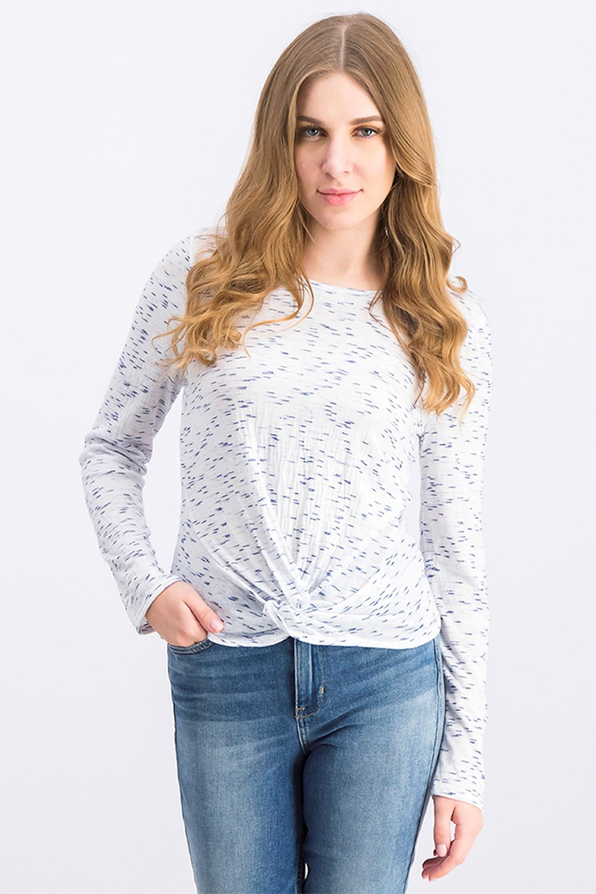 Women's Long Sleeve Top, White/Blue