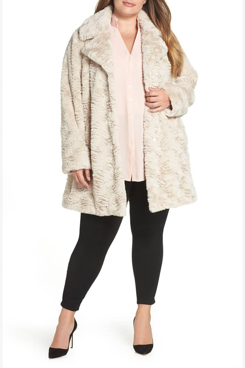 Women's  Plus Size Wubby Faux Fur Coat, Sand