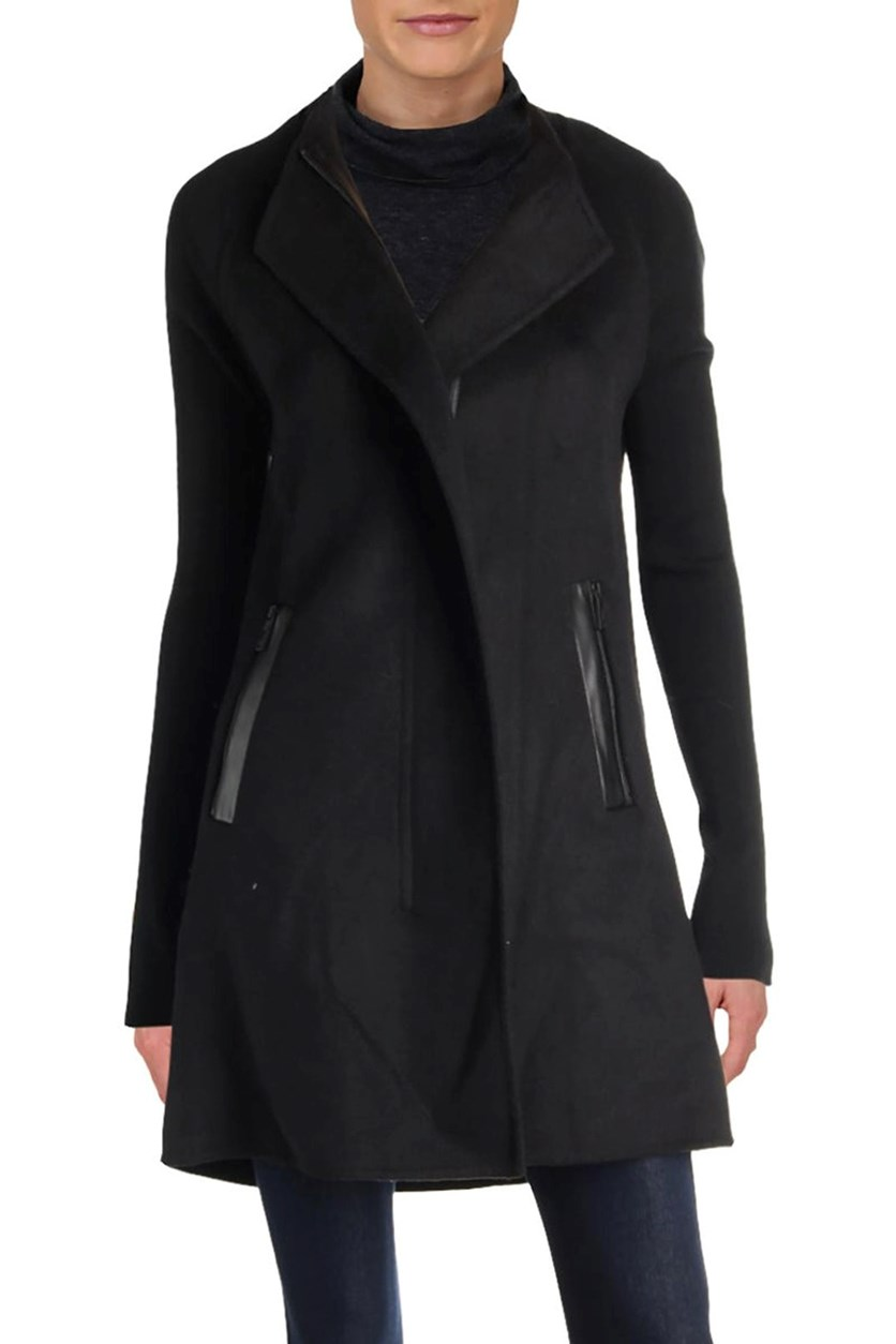 Womens Fall Wool Blend Midi Coat, Black