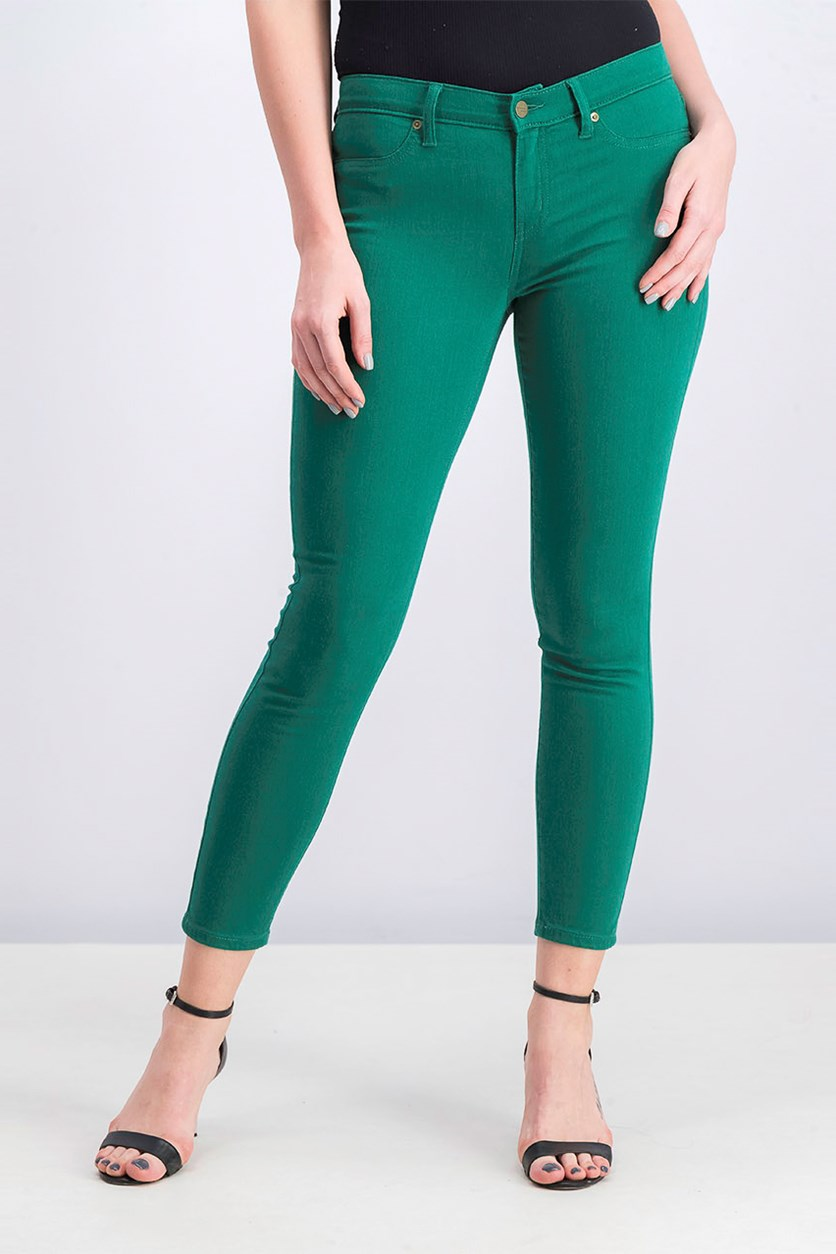 Women's Plain Skinny Jeans, Green