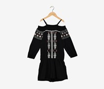 Smocked Printed Romper, Deep Black