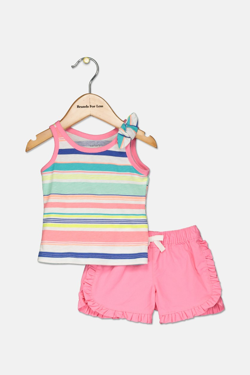 Baby Girls 2-Pc. Striped Top & Shorts Set, Pink Combo