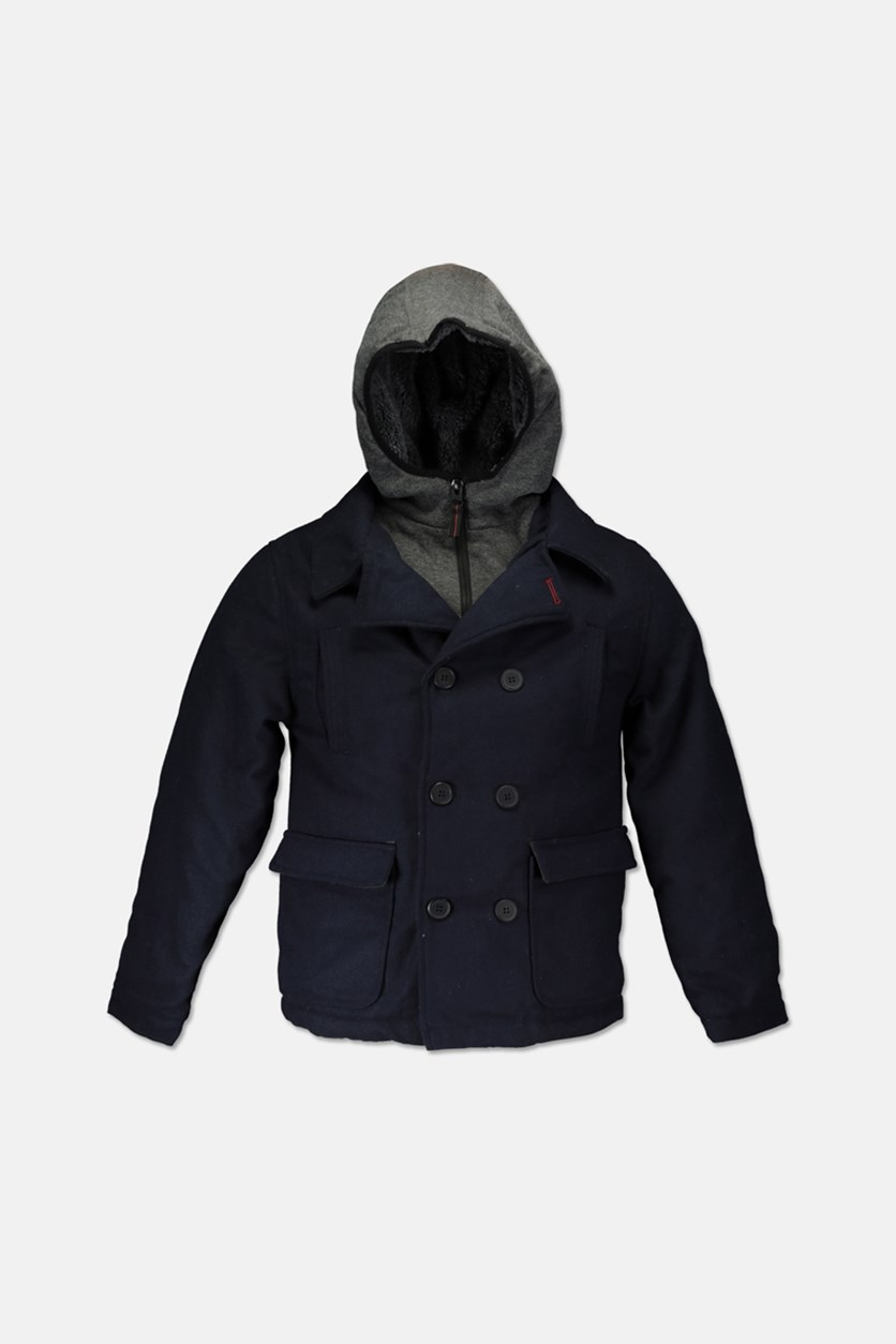 Boy's Hooded Long Sleeve Jacket, Navy