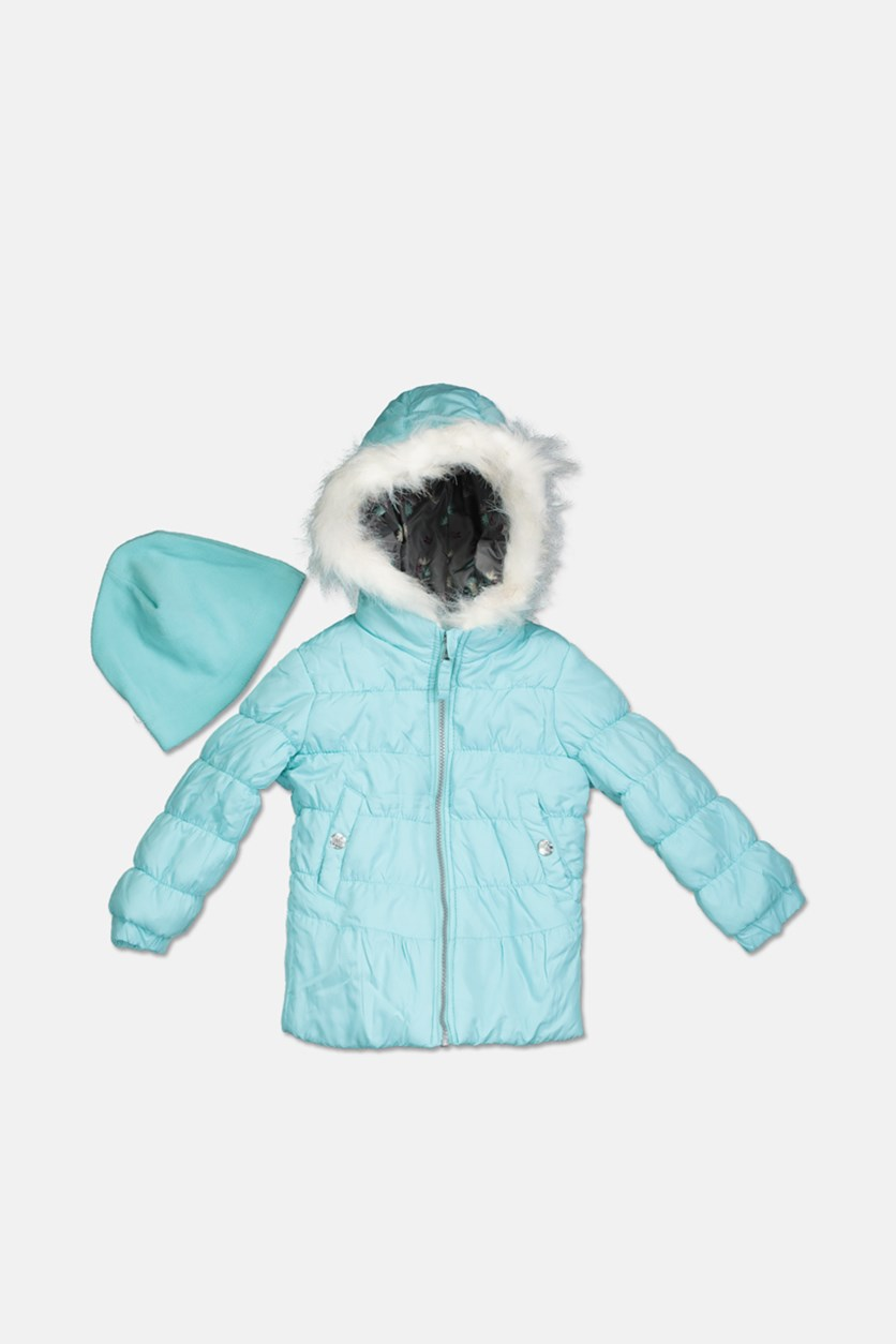 Toddler Girls Quilted Puffer Jacket & Matching Hat Set, Aqua