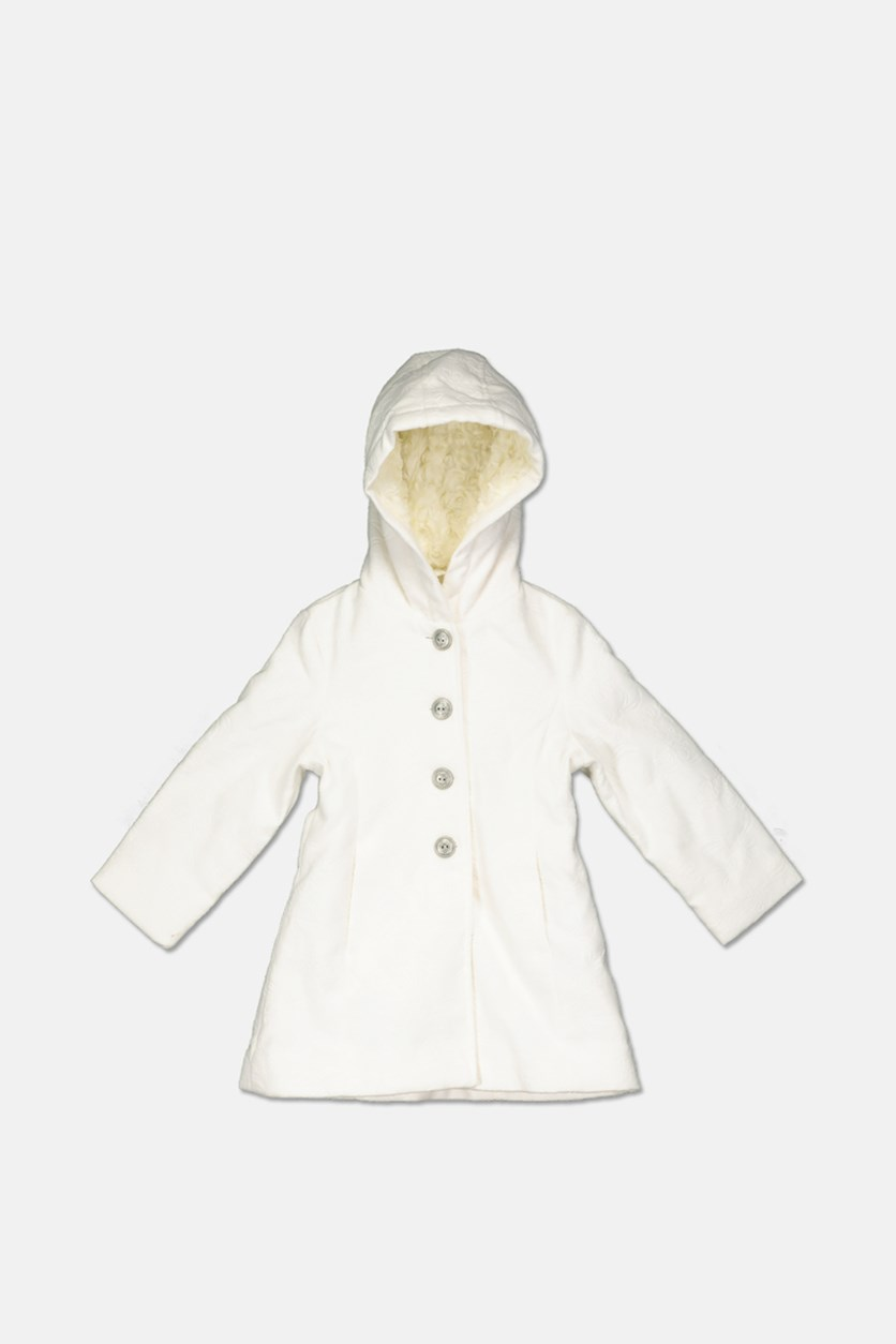 Toddler Girls Hooded Jacket, Cream