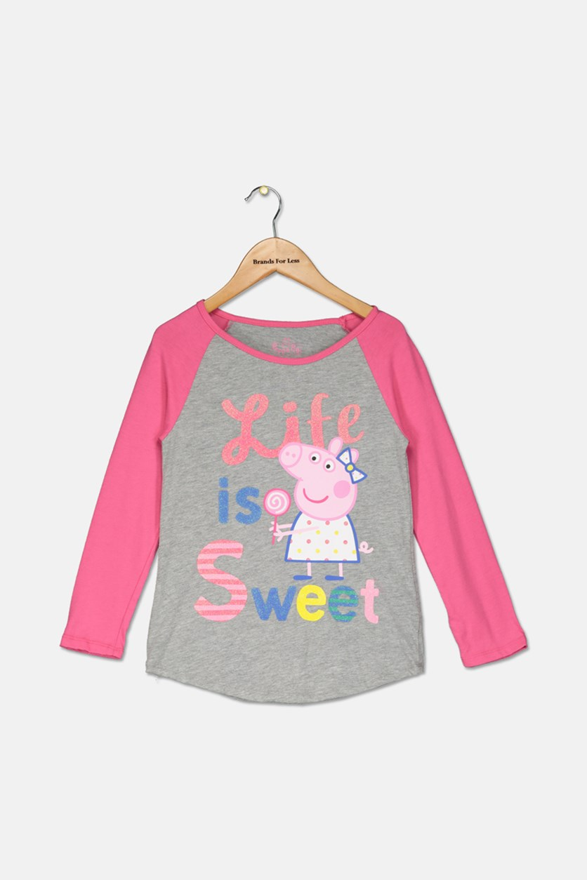 Girls Long Sleeve Top, Gray/Pink