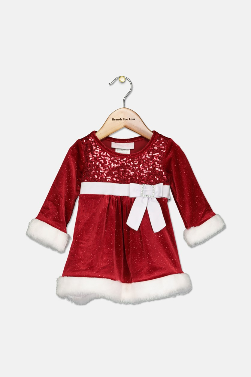 Baby Girls Faux-Fur Trim Santa Dress, Red/White