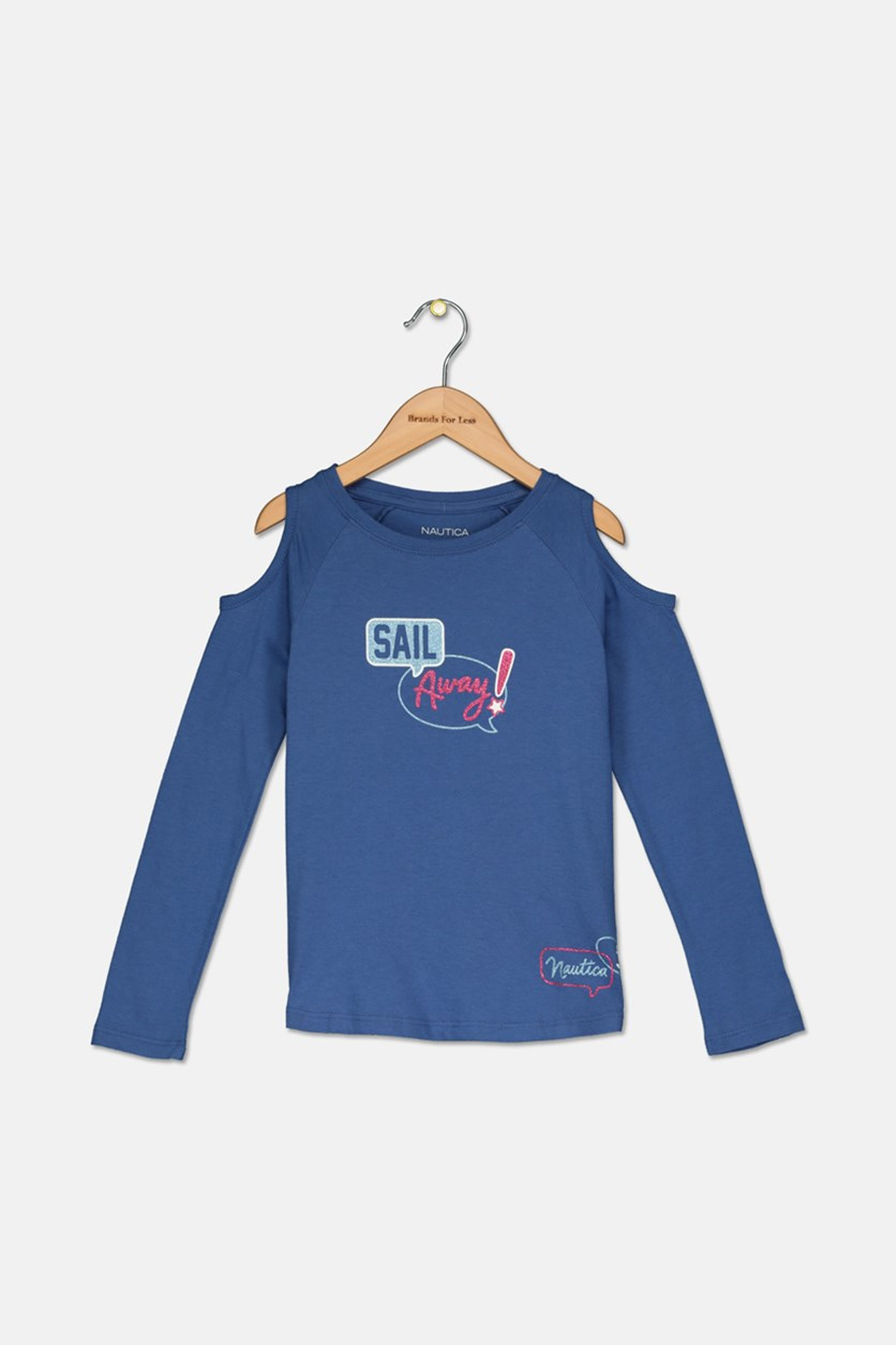 Kids Girls Cold Shoulder Top, Dark Blue