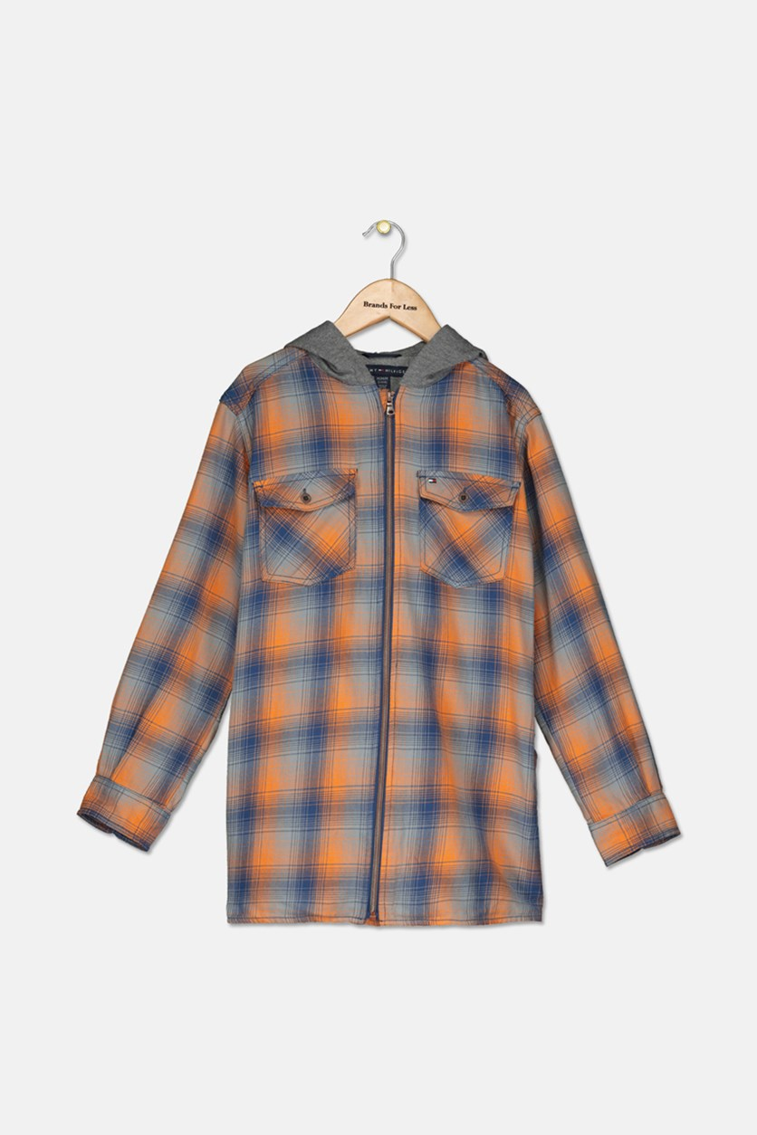 Big Boys Dexter Hooded Flannel Shirt, Orange Ochre