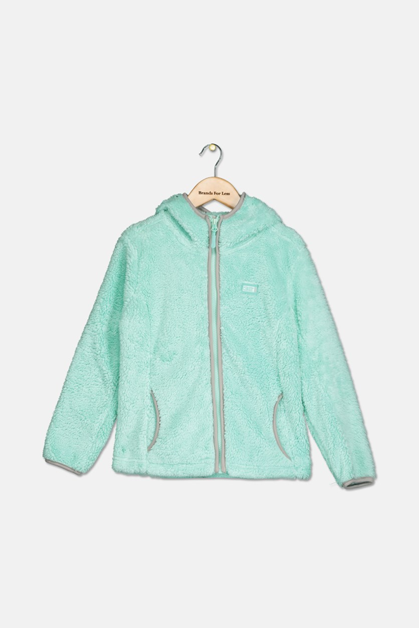 Big Girls Faux-Shearling Hooded Jacket, Mint