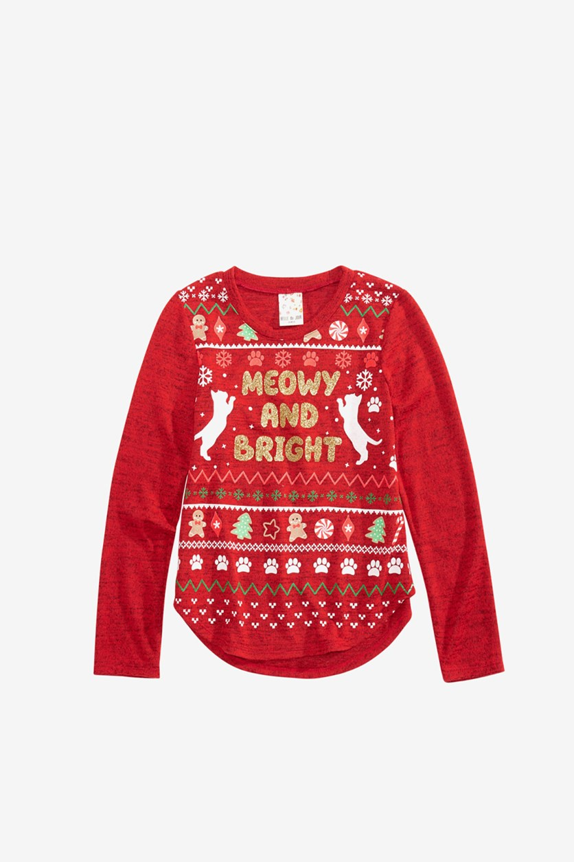 Kid's Girls Graphic-Print Holiday Top, Red