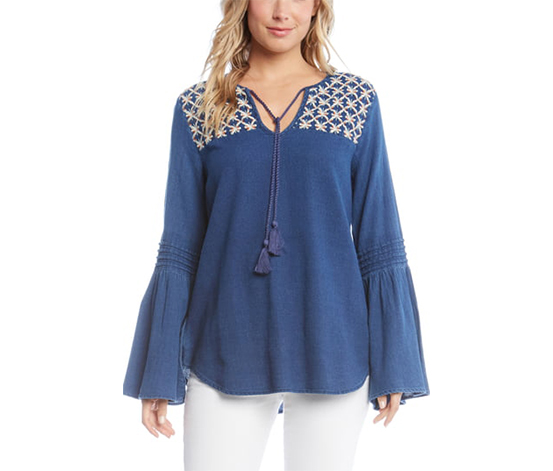 Karen Kane Women's Balboa Bell-Sleeve Top, Blue