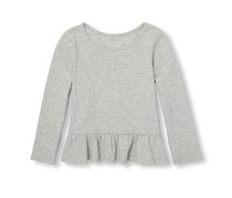 Little Girl's Long Sleeve Basic Peplum Hem Top, Grey