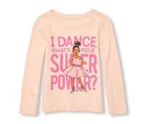 Little Girl's Graphic Print Top, Pink